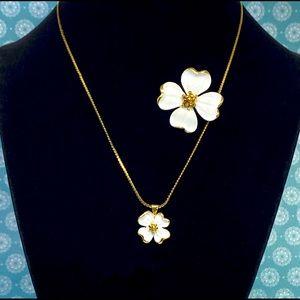 Vintage Monet Dogwood Flower Brooch & Necklace